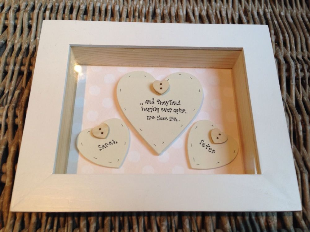 Gifts For Bride On Wedding Day From Groom: Shabby Personalised Chic Box Frame Gift For Bride & Groom